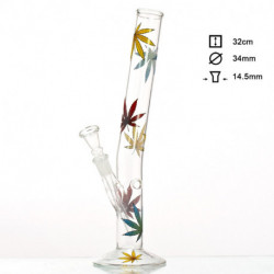Bong Hojas Marihuana - H:32cm - D:34mm - Socket:14.5mm