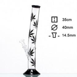Bong Hojas negras marihuana - H:35cm - D:40mm - Socket:18.8mm