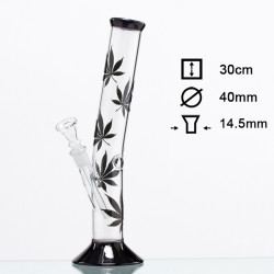 Bong Cristal Hojas negras - H:30cm - D:40mm - Socket:18.8mm